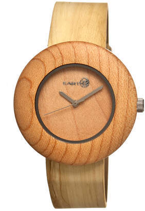 Earth Wood Ligna Leather-Band Watch Khaki 43Mm