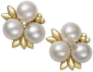 Belle de Mer Cultured Freshwater Pearl (6mm) and Diamond Stud Earrings in 14k Gold