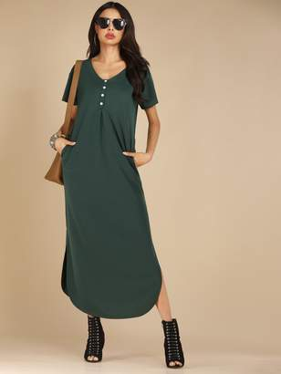 Shein Button Front Curved Hem Side Slit Dress