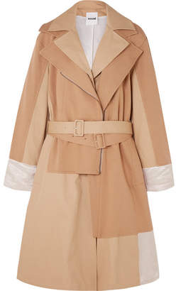 Koché Paneled Cotton-jersey, Twill And Hammered Satin Trench Coat - Sand