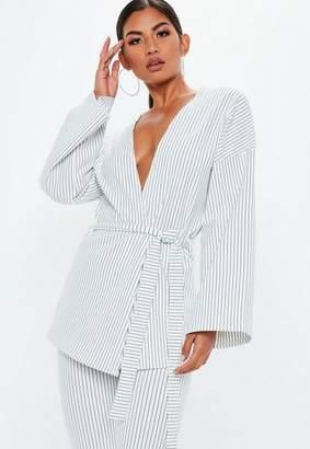 Missguided Kimono Sleeve Pinstripe Jacket
