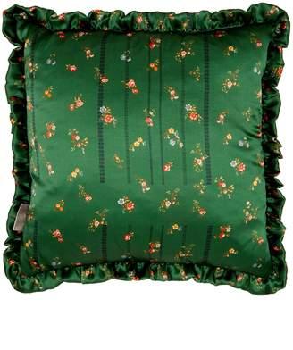 Preen by Thornton Bregazzi Green and blue floral-printed silk cushion