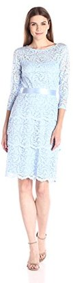 Marina Women's Three-Quarter-Sleeve Stretch Floral-Lace Dress with Tiered Skirt $129 thestylecure.com