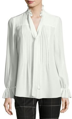 Elie Tahari Everette Pintucked Tie-Neck Silk Blouse $298 thestylecure.com