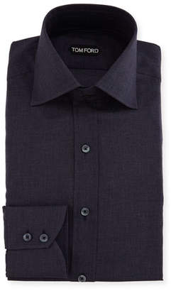 Tom Ford Slim-Fit Tonal Check Dress Shirt, Navy