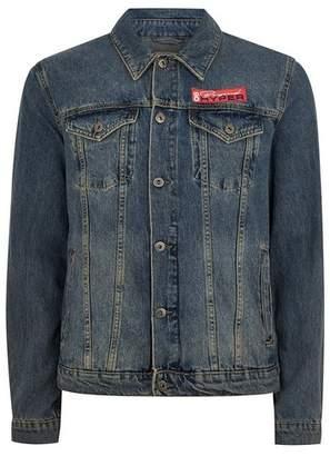 Topman Mens Blue Embroidered Denim Jacket