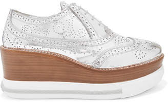 Miu Miu Metallic Leather Platform Brogues - Silver