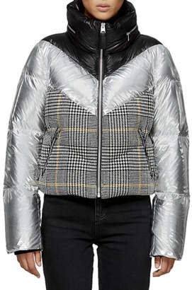 Mackage Mini Houndstooth & Metallic Cropped Down Jacket