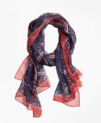 Brooks Brothers Floral-Print Silk Chiffon Oblong Scarf