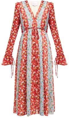 Carolina Herrera Floral Print Chiffon Midi Dress - Womens - Red Multi