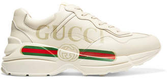 Gucci Rhyton Printed Leather Sneakers - Cream