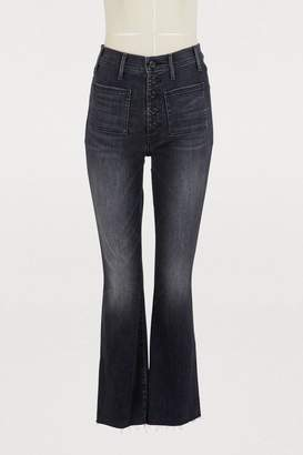 Mother The Hustler high-waisted patch pocket bootcut jeans