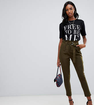 Missguided Tall paperbag tailored pants in khaki
