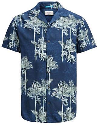 Jack and Jones Tropical-Print Short-Sleeve Sport Shirt
