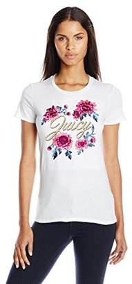 Juicy Couture Black Label Women's Logo Jc Aster Bouquets Short Sleeve Tee $78 thestylecure.com