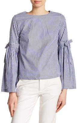 Catherine Malandrino Striped Tie Sleeve Blouse