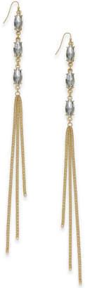 Thalia Sodi Gold-Tone Gray Stone & Chain Tassel Drop Earrings, Created for Macy's