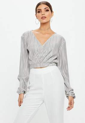 Missguided Gray Crinkle Long Sleeve Wrap Over Cropped Top