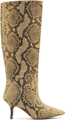 Yeezy Black and White Faux-Python Knee-High Boots