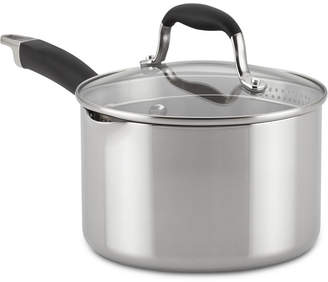 Anolon Tri-Ply Onyx 3-Qt. Stainless Steel Straining Saucepan & Lid