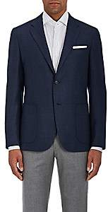 Barneys New York MEN'S NEAT WOOL-SILK TWO-BUTTON SPORTCOAT-NAVY SIZE 40 L