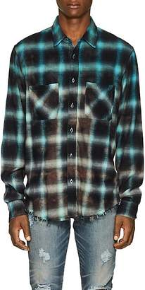 Amiri Men's Tie-Dyed Plaid Cotton Flannel Shirt