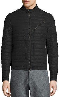 Moncler Casteu Quilted Leather Moto Jacket, Black $3,360 thestylecure.com