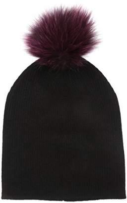 Sofia Cashmere Women's Cashmere Fur Pom Hat-Slouchy