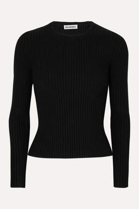 Balenciaga Ribbed-knit Top - Black