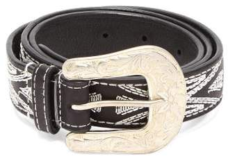 Isabel Marant Tety Topstitched Leather Belt - Womens - Black