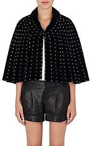 Saint Laurent Women's Crystal-Embellished Velvet Cape - Black