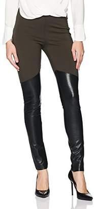 BCBGMAXAZRIA Women's Hawkins Knit Colorblock Faux Leather Legging