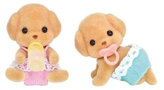 Sylvanian Families And Family Life Toy Poodle Twins