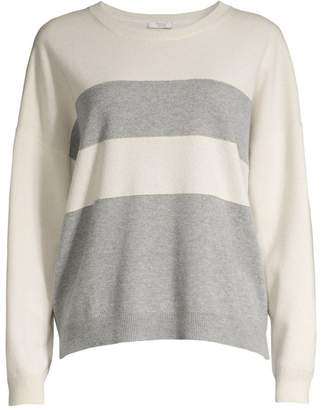 Peserico Long-Sleeve Striped Wool, Silk & Cashmere Sweater