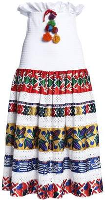 Stella Jean Shirred Printed Satin And Broderie Anglaise Cotton Midi Skirt