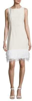 Feather-Trimmed Sheath Dress