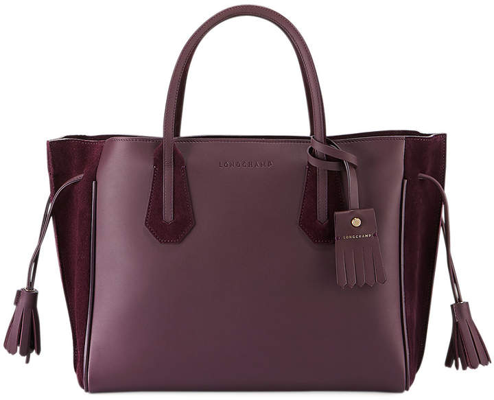 Longchamp Penelope Medium Leather and Suede Tote Bag - PURPLE - STYLE