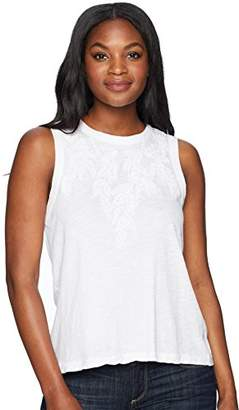 Lucky Brand Women's Embroidered Leaf Ruched Back Tank TOP White