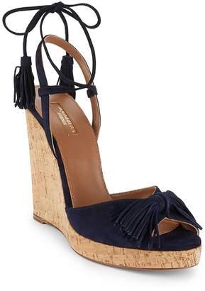 Aquazzura Women's Wild One Leather Wedge Sandals