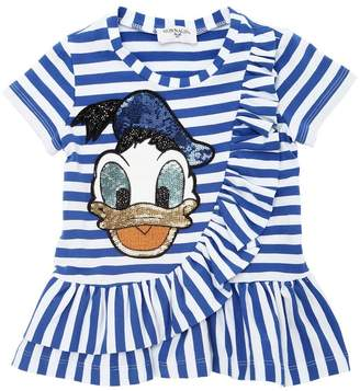 MonnaLisa Donald Duck Stripe Cotton Jersey T-Shirt