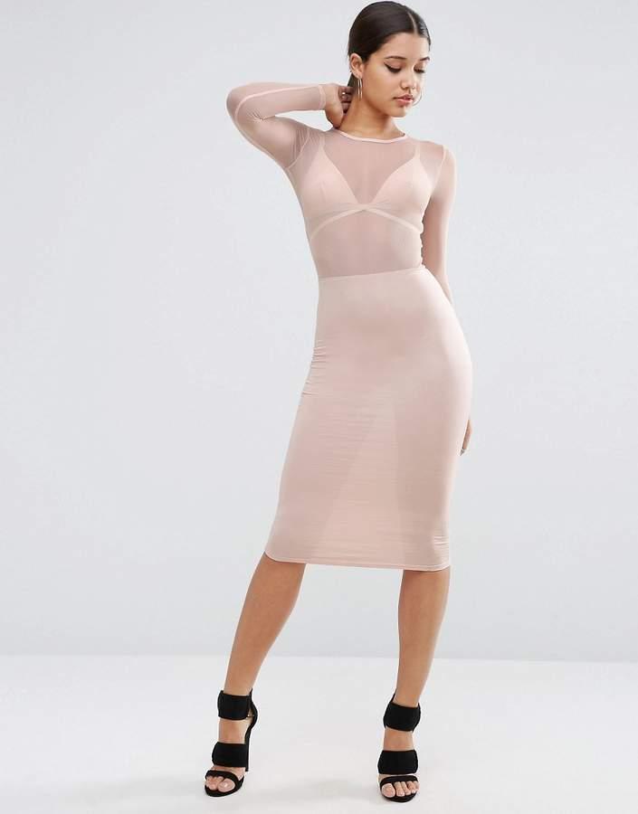 Asos Mesh Top Long Sleeve Midi Bodycon Dress
