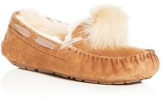 UGG Women's Dakota Suede & Shearling Pom-Pom Slippers