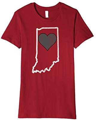Heart In Indiana Distressed Football T-Shirt