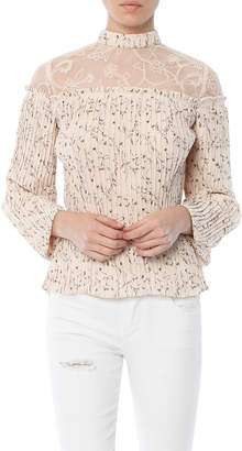 Moon River Pleated Floral Top
