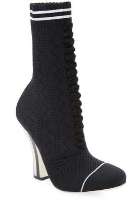 Fendi Women's Stripe Heel Sock Booties