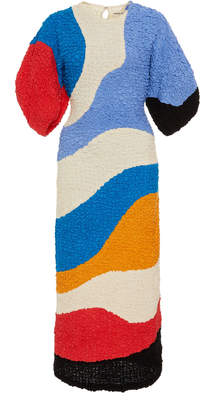 Mara Hoffman Freya Colorblocked Textured Midi Dress Size: XXS