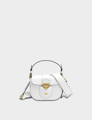 Moschino Hidden Lock Small Shoulder Bag in White Calfskin