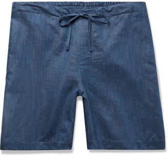 Zimmerli Slub Linen And Cotton-blend Drawstring Pyjama Shorts - Navy