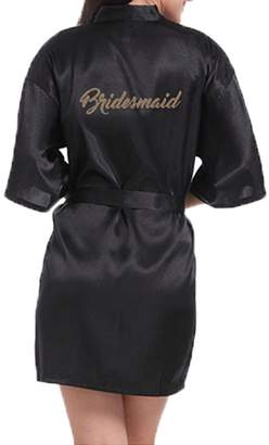 WPFING Bridesmaid Robes Coral Red Bridal Party Robe Glitter Customized(,XXL)