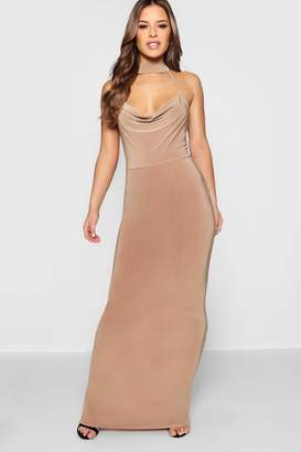 boohoo Petite Cowl Neck Collar Maxi Dress